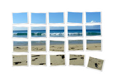 Photographs forming beach. Different photographs forming scenic beach jigsaw puzzle, isolated on white background Stock Photos