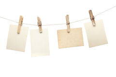 Photographs hang on the clothespin Stock Image