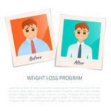 Photographs of a man before and after weight loss Royalty Free Stock Photography