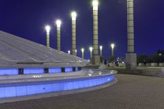 Olympic Stadium in Barcelona. Photographs of the Olympic Stadium in Barcelona at night Stock Photo