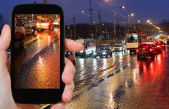 Photographs picture of night car traffic Stock Images