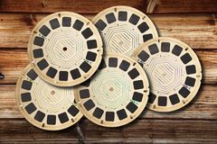 Photographs vintage viewmaster wooden background Royalty Free Stock Photography