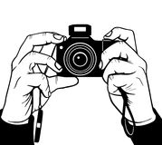 Photography. Hands photography, black and white vector illustration Stock Photo