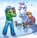 Photography. Young teens boys boys at the rink in the winter photographed shoot snowman snowflakes Stock Photo