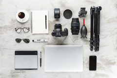 Photography accessories on work table stock images
