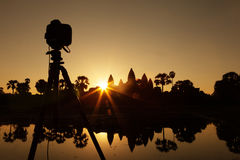 Photography at Angkor Wat temple Stock Images