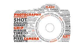 Photography animation text. In shape of camera with alpha channel stock footage