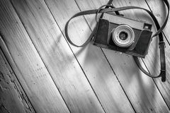 Photography. Background with old camera and wooden table Royalty Free Stock Photography