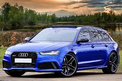 Photography of Blue Wagon Audi Royalty Free Stock Images