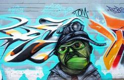 Photography of Brick Wall With Graffiti Royalty Free Stock Photos