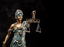 Photography of bronze themis sculpture, femida or justice goddess on dark background stock image