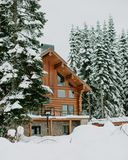 Photography of Brown House Surrounded by Trees Covered by Snow Stock Images