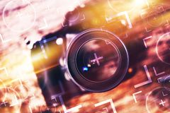 Photography Camera Concept. Photography Camera Lens Glass Closeup. Modern Camera on the Old Wooden Table with Concept Photo Elements. Photography Concept Royalty Free Stock Photo