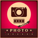 Photography camera and film retro poster. Photography camera and film design retro poster Stock Images