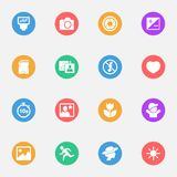 Photography, camera and foto vector flat icons on the color substrate  set of 16. On white background Stock Photo