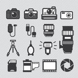 Photography camera icons set. Photography camera lens and accessories set  icons set Royalty Free Stock Photography