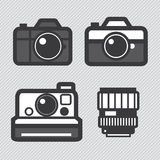 Photography camera lens and accessories set Stock Image