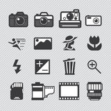 Photography camera lens and accessories set Royalty Free Stock Images
