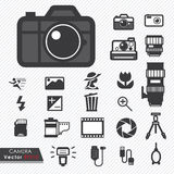 Photography camera lens and accessories set Stock Photography