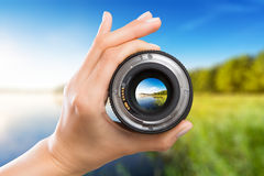 Photography camera lens concept. Royalty Free Stock Images