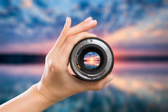 Photography camera lens concept. Stock Photography