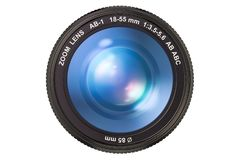 Photography camera lens, 3D rendering. Isolated on white background Royalty Free Stock Photos