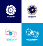 Photography camera logo icon set Royalty Free Stock Photos