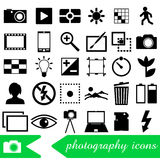 Photography and camera theme black simple icons set eps10 Royalty Free Stock Photography