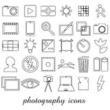 Photography and camera theme black simple outline icons set eps10. Photography and camera theme black simple outline icons set Royalty Free Stock Images
