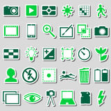 Photography and camera theme color simple icons stickers set eps10 Royalty Free Stock Image