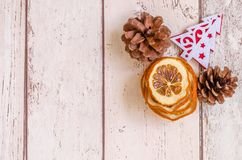 Christmas card. Photography Christmas background and dried oranges decoration Stock Photos