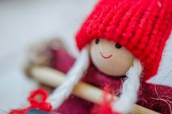 Christmas puppet. Photography Christmas background with dwarf puppets Stock Image