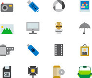 PHOTOGRAPHY colored flat icons Stock Image
