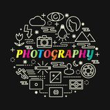Photography colorful gradient with line icons set Royalty Free Stock Images