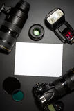 Photography concept with camera lense Stock Photo