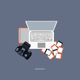 Photography concept. Desk with camera, photos, lap top and notebook. Flat illustration stock illustration