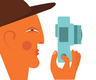 Photography concept.Male photographer profile with camera flat illustration Stock Image
