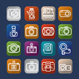 Photography design  camera icon over colorful Stock Image
