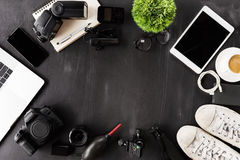 Photography device on table top angle view. Photography device on table top view Stock Images