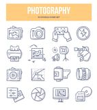 Photography Doodle Icons. Photography, photo equipment, post-production and photo shooting doodle vector icons for website and printing materials royalty free illustration