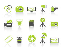 Photography element icon,green series stock illustration