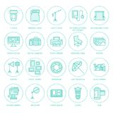 Photography equipment flat line icons. Digital camera, photos, lighting, video cameras, photo accessories, memory card. Tripod lens film. Vector illustration Royalty Free Stock Images