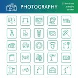 Photography equipment flat line icons. Digital camera, photos, lighting, video cameras, photo accessories, memory card Royalty Free Stock Images