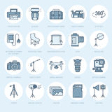 Photography equipment flat line icons. Digital camera, photos, lighting, video cameras, photo accessories, memory card. Tripod lens film. Vector illustration Royalty Free Stock Photos