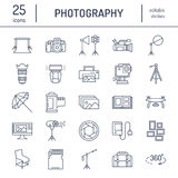 Photography equipment flat line icons. Digital camera, photos, lighting, video cameras, photo accessories, memory card. Tripod lens film. Vector illustration stock illustration