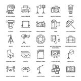 Photography equipment flat line icons. Digital camera, photos, lighting, video cameras, photo accessories, memory card. Tripod lens film. Vector illustration Royalty Free Stock Photo