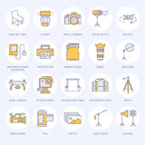 Photography equipment flat line icons. Digital camera, photos, lighting, video cameras, photo accessories, memory card. Tripod lens film. Vector illustration Stock Photography