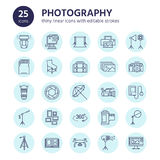 Photography equipment flat line icons. Digital camera, photos, lighting, video cameras, photo accessories, memory card. Tripod lens film. Vector illustration Stock Image