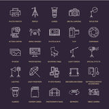 Photography equipment flat line icons.. Digital camera, photos, lighting, video cameras, photo accessories, memory card, tripod lens film. Vector illustration Stock Photos