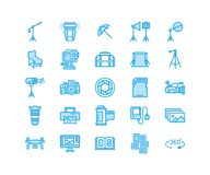 Photography equipment flat line icons. Digital camera, photos, lighting, video photo accessories, memory card, tripod Stock Photos